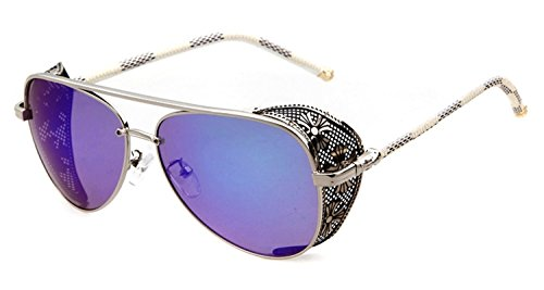 Metal Aviator Shield (Unisex STY1506 Cross Detail Side Shield Metal Aviator 52mm Sunglasses (C4-silver+blue, 0))
