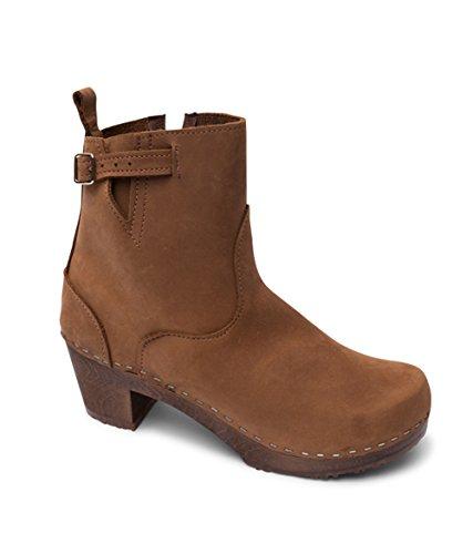 Swedish High Heel Wooden Clog Boots for Women | Manhattan by Sandgrens Dexter Tan T40DYj3E