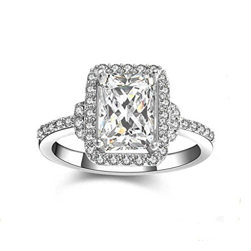 - Top Grade Solid 925 SIlver Emerald Rectangular Cut Simulated Diamond Ring shourect9