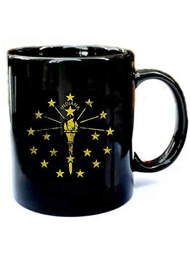 Vintage Grunge Flag of Indiana - Funny Gift Black 11oz Ceramic Cozy Coffee Mug