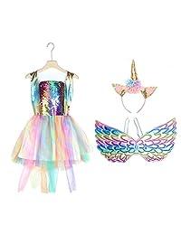 Happyyami Sequin Unicorn Princess Dress Kit for Girls Birthday Halloween Masquerade Props