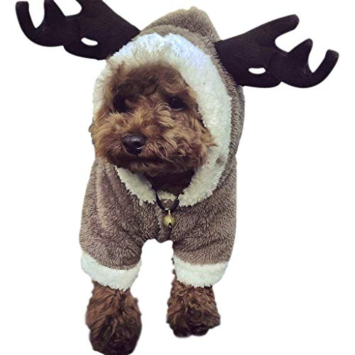 Pet Dog Christmas Costume Elk Clothes Dog Sweatshirts Halloween Moose Costume Dog Puppy Hoodie Coat Jacket Clothes Soft Coral Velvet Fleece Winter Warm Sweater Jumpsuit Outfit Apparel for Dogs Cats -