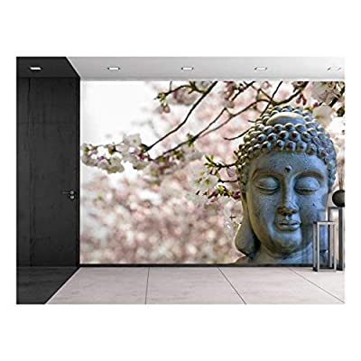 Buddha Statue on a Cherry Blossom Garden Wall Mural, Crafted to Perfection, Majestic Visual