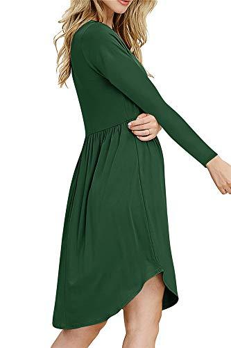 Multicolore Delle Lunga Vestito Femminile Altalena Rlevish Green Grande m Rotondo Donne Abito Collo Pulsante Mini red Manica Fessura wxvO8Iq