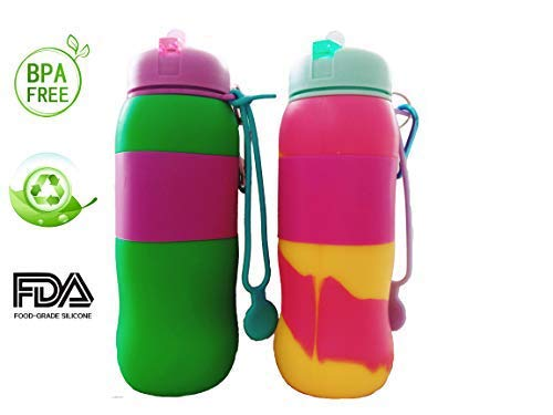 Best Starloop 2パックCollapsible Water Bottleシリコンアウトドア水Canteen – シリコン折りたたみ式with Leak ProofバルブBPAフリー、 B07F3ZP9V9 green+mix green+mix