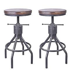 Farmhouse Barstools Set of 2 Industrial Bar Stool-Vintage Adjustable Round Wood Metal Swivel Bar Stool-Cast Steel-23-30 Inch Tall Counter… farmhouse barstools