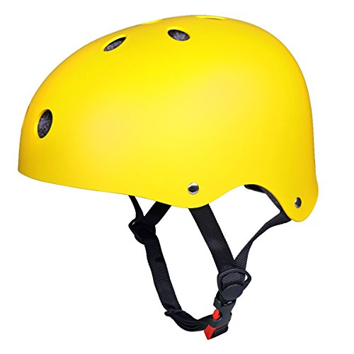 SymbolLife Skateboard Helmet Youth Scooter Helmet Adult Bike Yellow BMX Scooter Skate Cycling (L)
