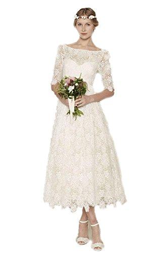 BKSKK Lace Tea Length Half Sleeve Wedding Dresses Appliques Bridal Gown (24W, White)