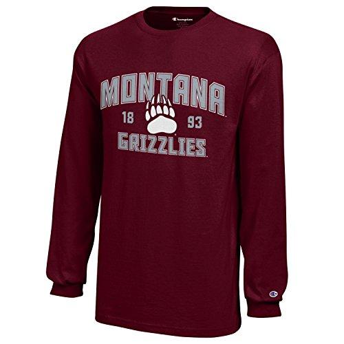 Champion NCAA Montana Grizzlies Youth Boys Long Sleeve Jersey T-Shirt, X-Large, Maroon