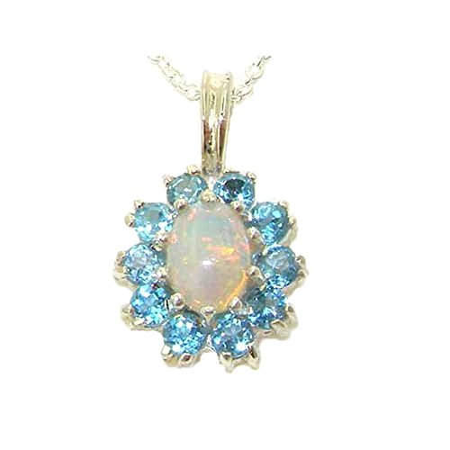 Ladies Solid 925 Sterling Silver Ornate Natural Opal & Blue Topaz Oval Pendant Necklace