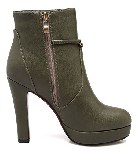 Boots Platform Round Up Dressy Inside With Olive High Booties Strap Toe Trendy Ankle Heel Aisun Womens Zipper Zip Buckle w01EXXqZ