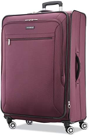 Samsonite Ascella X Softside Expandable Luggage with Spinner Wheels, Plum, Checked-Large 29-Inch