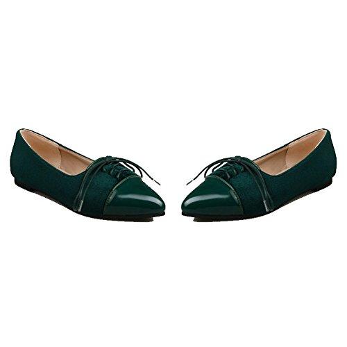 Luccichio Ballet Verde flats Scarpe Basso Donna Allacciare Tacco Voguezone009 A Punta Cxt8wq4