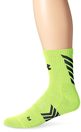 Under Armour Men's Undeniable Mid Crew Socks, Hi-Vis Yellow/Midnight Navy, Medium