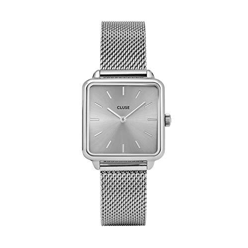 CLUSE LA TÉTRAGONE Mesh Full Silver CL60012 Women's Watch 29mm Square Dial Stainless Steel Strap Minimalistic Design Casual Dress Japanese Quartz Precision
