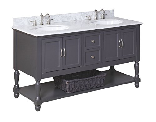 Kitchen Bath Collection KBC667GYCARR Beverly Double Sink Bathroom Vanity with Marble Countertop, Cabinet with Soft Close Function and Undermount Ceramic Sink, Carrara/Charcoal Gray, 60