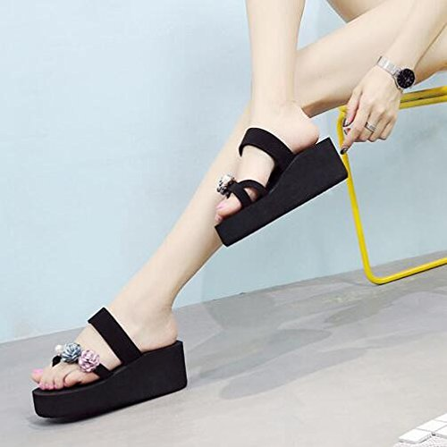 KHSKX-New Korean Version Of Thick Bottom Sandals Female Summer Fashion Flowers Beach Green Foot Slope With The Character Towing Anti Slip Forty kOXJmbabY