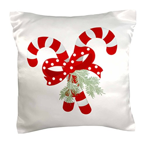 (3dRose pc_35816_1 Crossed Peppermint Candy Canes-Pillow Case, 16 by 16