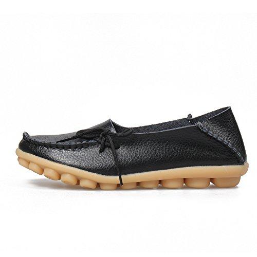 Yixinan Mode Lägenheter Läder Casual Snörskor För Kvinna Svart
