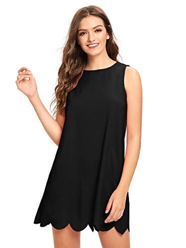 ROMWE Womens Cute Sleeveless Solid Casual A Line Dress