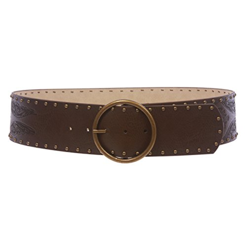 Embossed Studded Belt - Women's Wide High Waist Butterfly Embossed studded Belt, Dark Brown | m/l - 35''