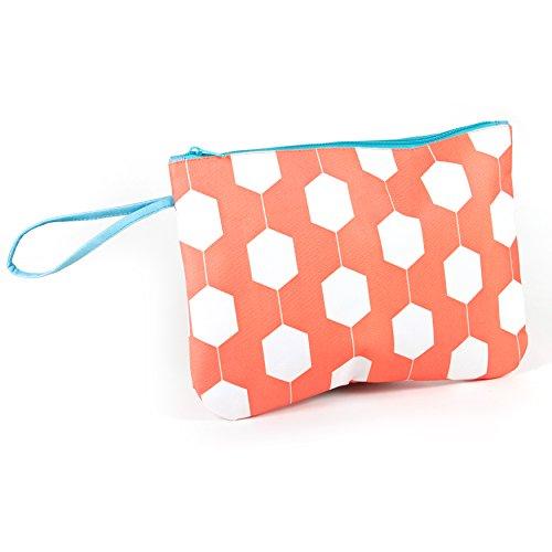 Hexagon Lined 12x9 In. Bikini Bag - Orange/Turquoise