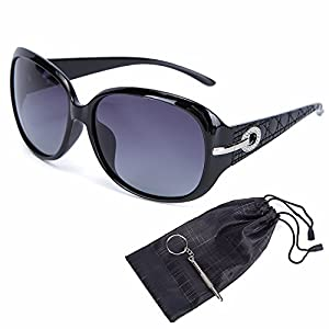 MOTINE Women's Shades Classic Oversized Polarized Sunglasses 100% UV Protection (Black Frame Gray Lens, 62mm)