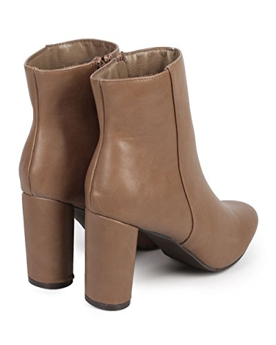 Ankle Toe Beige Tailored Bootie DE13 Almond Heel Leatherette Block Breckelles Women xIvwa8q7