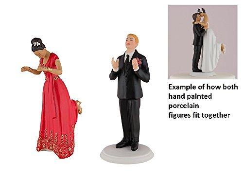 (Wedding Star Romance Bride & Groom Cake Topper Figurine EAST INDIAN BLONDE HAIR)