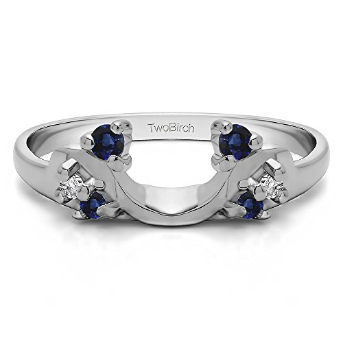 (Diamond and Sapphire Ring Enhancer in Silver,(G-H,I2 to I3)(0.12Ct) Size 3 To 15 in 1/4 Size Interval )