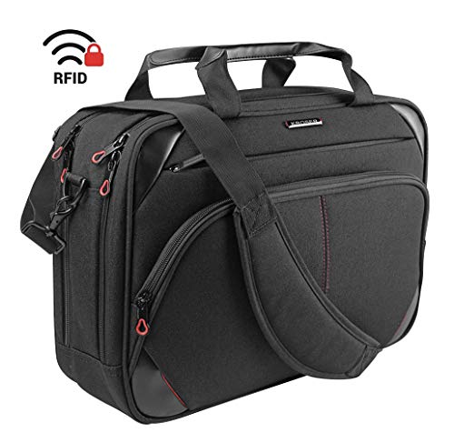 KROSER Laptop Bag 15.6 Inch Laptop Briefcase Laptop Messenger Bag Water Repellent Computer Case Laptop Shoulder Bag Durable Tablet Sleeve with RFID Pockets for Business/College/Women/Men-Black/Red