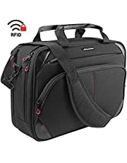 KROSER Laptop Bag 15.6 Inch Laptop Briefcase Laptop Messenger Bag Water Repellent Computer Case Laptop Shoulder Bag Durable Tablet Sleeve with RFID Pockets for Business/College/Women/Men-BlackRed