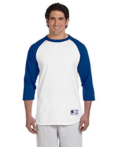 Champion Men's Tagless Baseball Raglan T-Shirt, white/team blue, Large