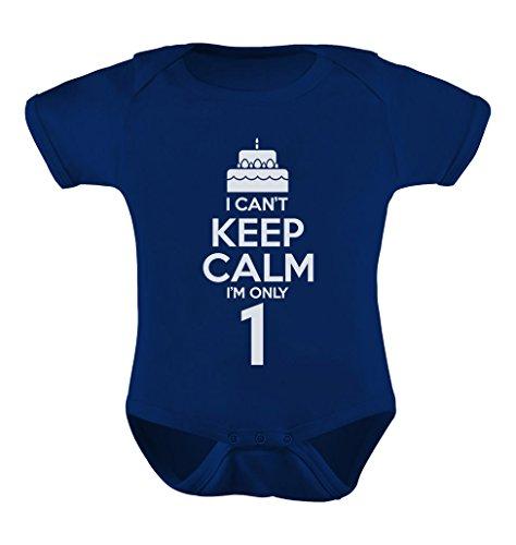TeeStars - Birthday Cake - I Can't Keep Calm I'm one Cute Baby Bodysuit 12M Navy -