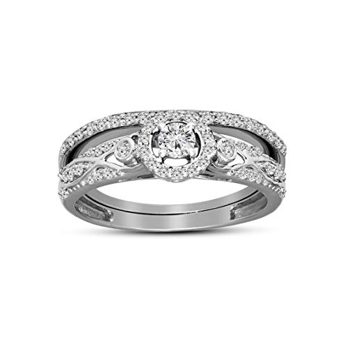 100% Pure Diamond Ring Friendly Diamonds 0.44 ct Diamond Ring 925S Sterling Silver Round Cut SI-GH Quality Real Diamond Ring For Women (3/8 ct, Diamond Ring) (Jewelry Gift For Women)