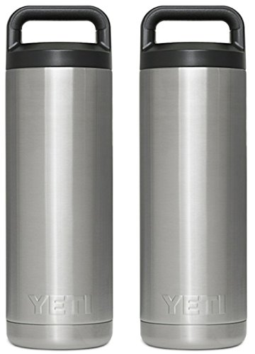 SET OF 2 YETI Rambler Bottles - 18 oz Stainless Steel With Insulated Leak-Proof Cap