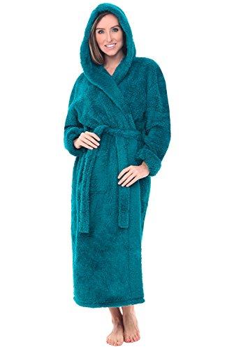 (Alexander Del Rossa Women's Plush Fleece Robe with Hood, Long Warm Bathrobe, 3X 4X Ocean Depth Green)