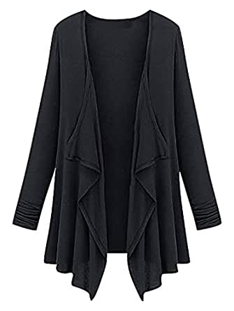 Maze, Women's Long Sleeve Thin Solid Color High Low Hem Waterfall Cardigan, Black S ,Manufacturer(M)