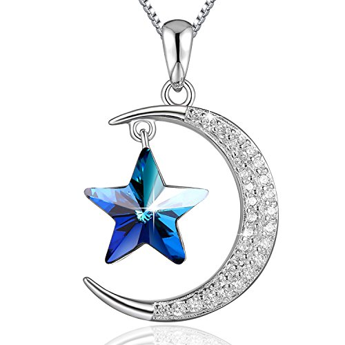 Blue Sapphire Star Pendant - PLATO H Moon and Star Neckalce Star Moon Necklace 925 Sterling Silver Star & Moon Pendant Necklace with Swarovski Crystals Bithday Gifts, 18