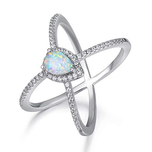 Rurah Cross Gems Ring with White Pear Shaped Opal for Women and Girls Valentine Gift,6 ()