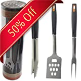 Makimy 3 Piece Barbecue Tool Set - Stainless Steel BBQ Set with Tongs, Grilling Fork, and Spatula - Non-Slip Grill Set - Ideal Gift idea for Grill Lovers