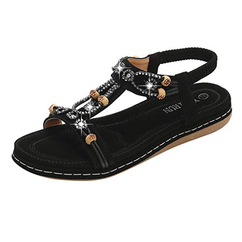 (◕‿◕Watere◕‿◕ Flat Sandals for Women Casual Clip Toe Sandals Bohemia Rhinestone Flower Beaded Comfort T-Strap Sandals Black )
