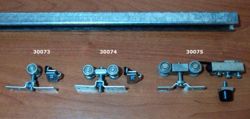 Schiebetürbeschlag außenbereich  Beschlagset für Schiebetür (90 kg)inkl. Laufschiene 2,5m, stahl ...