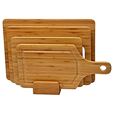 5 piece Bamboo cutting board set - Strong, Durable, No knife dull and Eco friendly