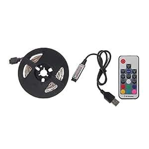 USB TV retroiluminación tira–liyudl USB Powered retroiluminación de polarización de tiras de LED 3528RGB luces iluminación de fondo para TV–TV parte trasera de luz Kit de iluminación con RF 17clave mando a distancia