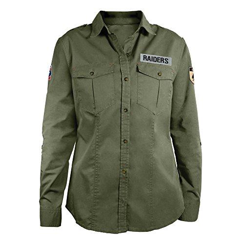 (NFL Oakland Raiders Women's Military Field Shirt, Large)