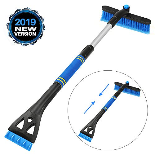 CHANSBO Snow Brush, 31.5″ Extendable Snow Broom, 2 in 1 Detachable Lightweight Portable Brush & Ice Scraper with Ergonomic Foam Grip for Car Windshield and Window (Blue)