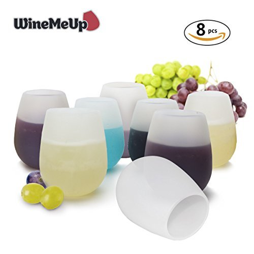 WineMeUp Silicone Wine Glasses for Camping - Stemless Unbreakable Party Cups - Set of 8