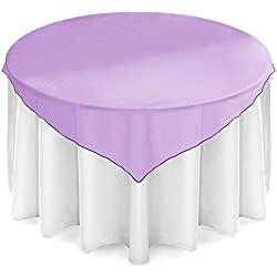 "Lann's Linens - 5 Organza Overlay Table Toppers - 72"" Square Tablecloth Covers for Wedding, Reception or Party - Purple"