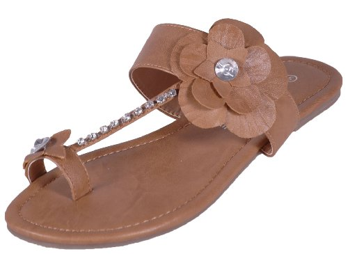 EyeCatchShoes Womens Flower Flat Slip on Toepost Diamante Sandals Camel XPTJks2hN